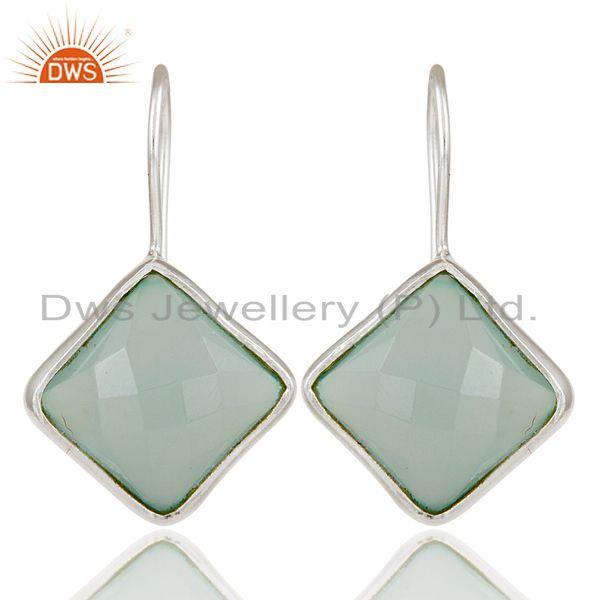 Handmade 925 Sterling Silver Dyed Blue Chalcedony Drops Earrings Jewellery