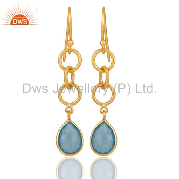 Handmade Chalcedony Bazel Set Drops Earring With 18k Gold Plated Sterling Silver