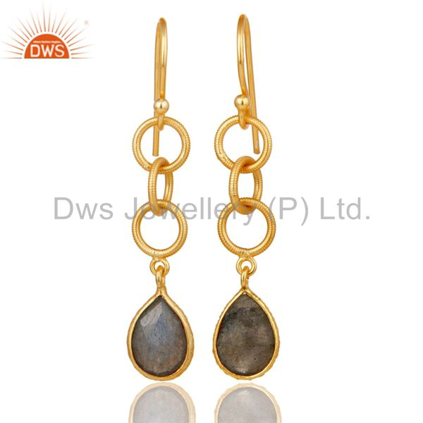Handmade Labradorite Bazel Set Drop Earring With 18k Gold Plated Sterling Silver