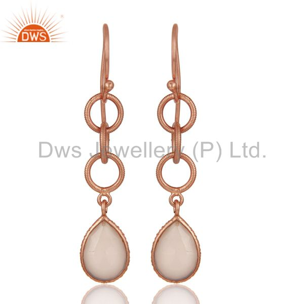 Dyed Chalcedony Bazel Set Drop Earring With 18k Rose Gold Plated Sterling Silver