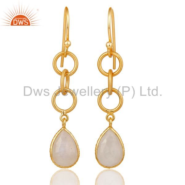 Rainbow Moonstone Bazel Set Drop Earring With 18k Gold Plated Sterling Silver