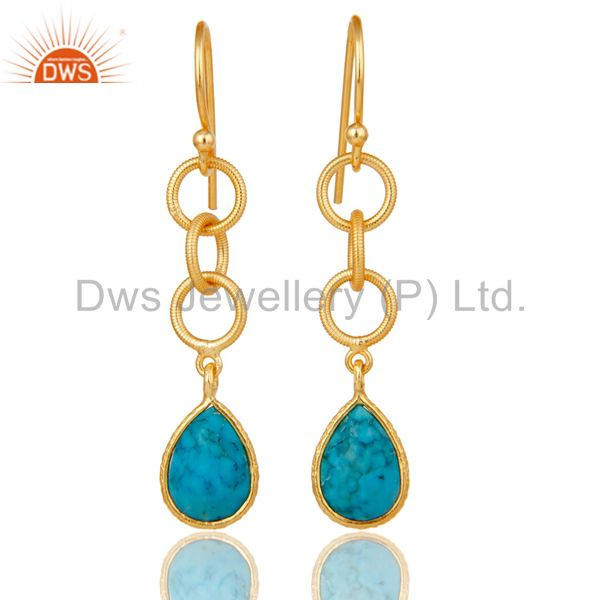 Natural Turquoise Bazel Set Drops Earrings With 18k Gold Plated Sterling Silver