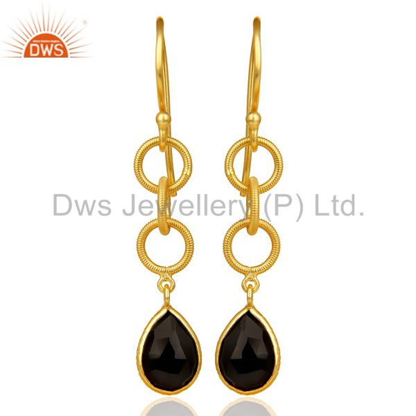 Black Onyx Twisted Wire Circle 14K Gold Plated 92.5 Sterling Silver Earring