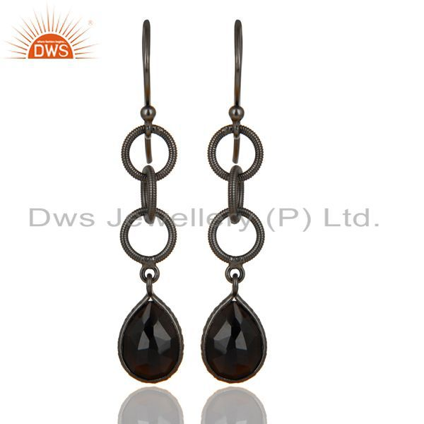 Black Oxidized 925 Sterling Silver Black Onyx Gemstone Dangle Earrings