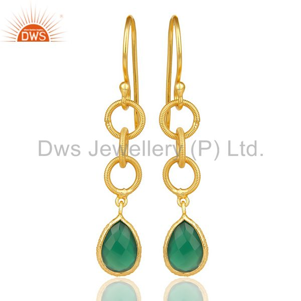 Green Onyx Twisted Wire Circle 14K Gold Plated 92.5 Sterling Silver Earring