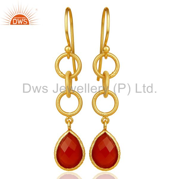 Red Onyx Twisted Wire Circle 14K Gold Plated 92.5 Sterling Silver Earring