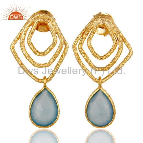 Dyed Blue Chalcedony New Fashion Earrings With 18k Gold Plated Sterling Silver