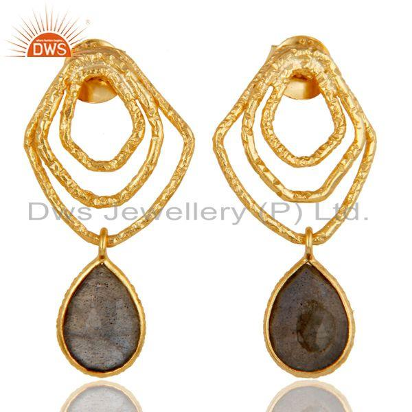 Labradorite New Fashion Drops Earrings With 18k Gold Plated 925 Sterling Silver