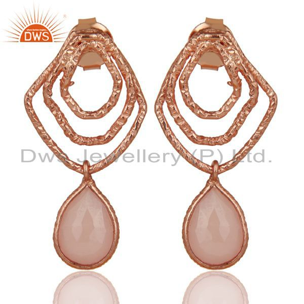 14K Rose Gold Plated Sterling Silver Handmade Dyed Chalcedony Dangle Earrings