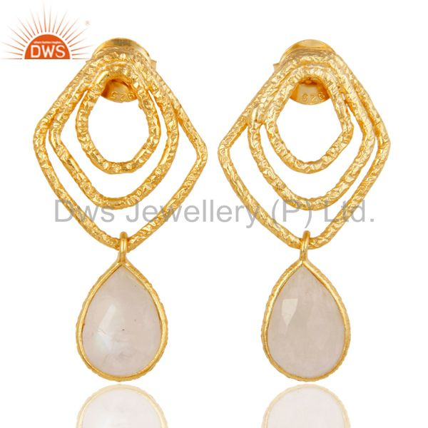 Rainbow Moonstone New Fashion Earrings With 18k Gold Plated 925 Sterling Silver