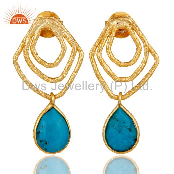 Turquoise Zig Zag Fashion Drop Earrings With 18k Gold Plated 925 Sterling Silver