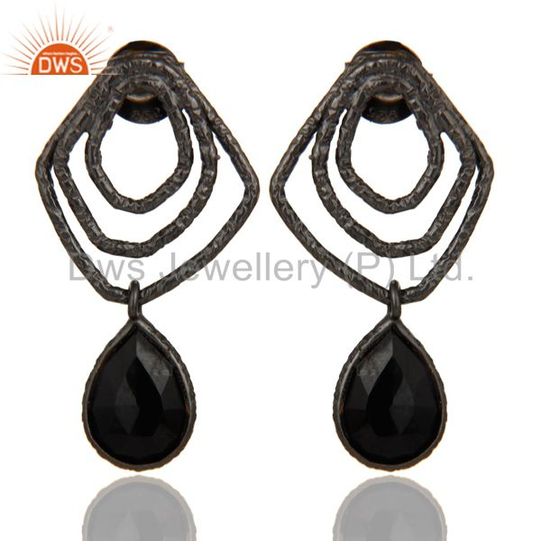 Black Onyx Zig Zag Fashion Drop Earrings With Black Oxidized 925 Sterling Silver