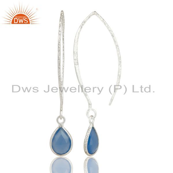 Solid 925 Sterling Silver Bazel Set Hoop In Hook Chalcedony Drops Earrings