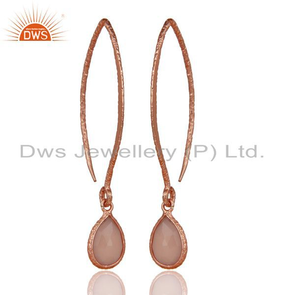 18k Rose Gold Plated 925 Silver Bazel Set Hoop In Hook Chalcedony Drop Earrings