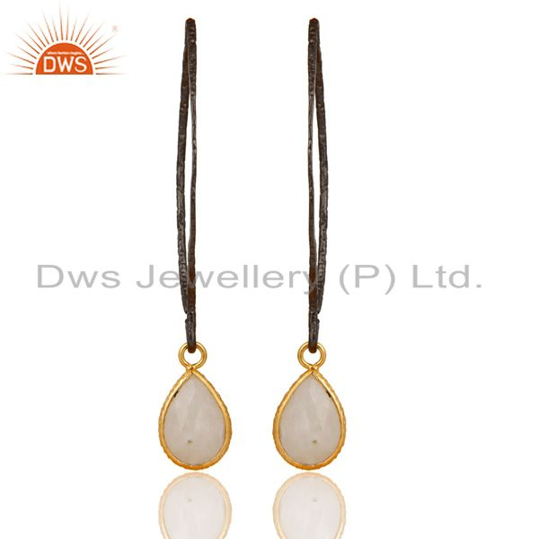 18K Gold Plated & Oxidized 925 SilverBazel Set Hoop In Hook Moonstone Earrings