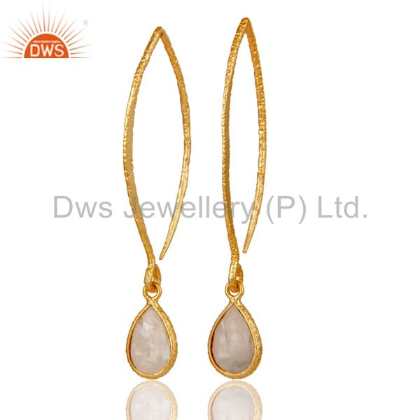18k Gold Plated Sterling Silver Bazel Set Hoop In Hook Moonstone Drops Earrings