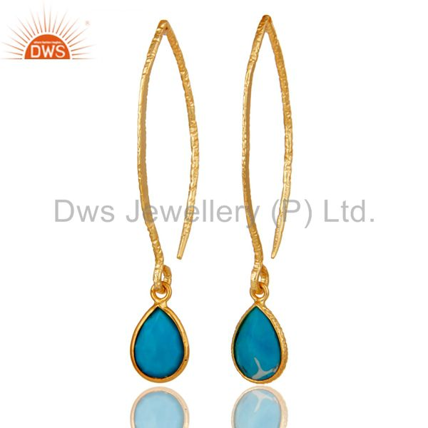 18k Gold Plated Sterling Silver Bazel Set Hoop In Hook Turquoise Drops Earrings