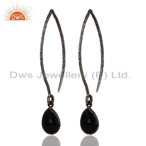 Black Oxidized Sterling Silver Bazel Set Hoop In Hook Black Onyx Drops Earrings