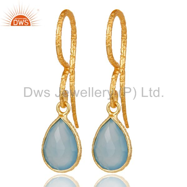 Dyed Chalcedony Bezel Set Drops Earrings With 18k Gold Plated Sterling Silver