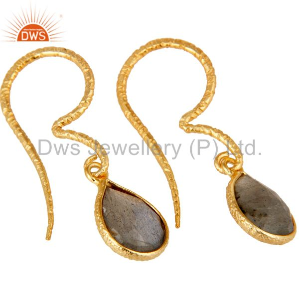 Fashion Design Labradorite Drops Earrings With 18k Gold Plated Sterling Silver