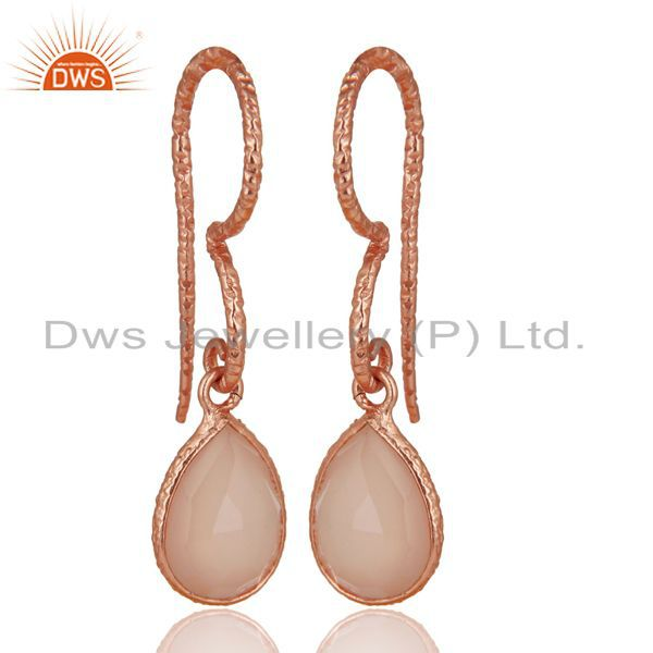 18K Rose Gold Plated 925 Sterling Silver Dyed Chalcedony Gemstone Drops Earrings