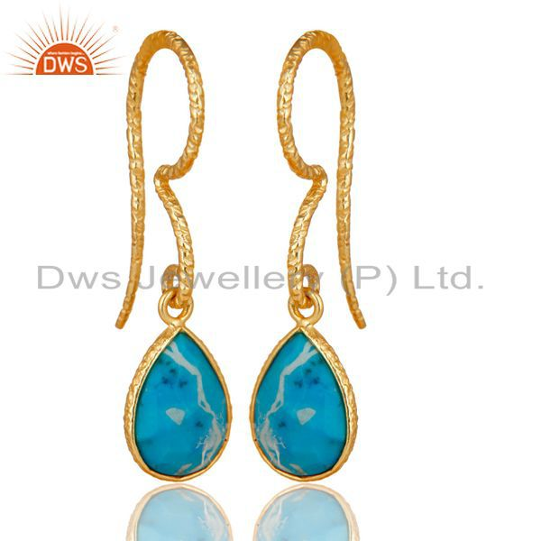 18K Yellow Gold Plated 925 Sterling Silver Turquoise Gemsone Drops Earrings