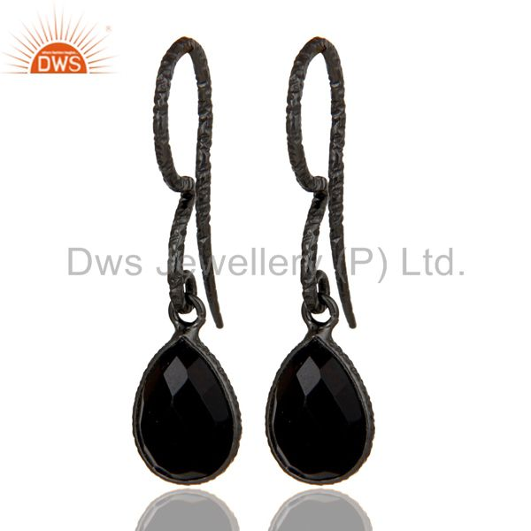 Fashion Design Black Onyx Drops Earrings With Black Oxidized Sterling Silver