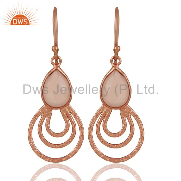 18K Rose Gold Plated Sterling Silver Classic Bazel Set Chalcedony Drops Earrings