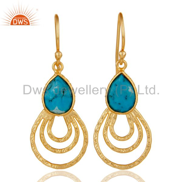 22k Gold Plated 925 Sterling Silver Classic Bezel Set Turquoise Drops Earrings