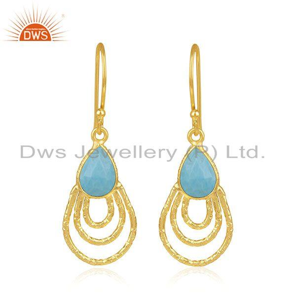 Handmade Sterling Silver Gold Plated Turquoise Gemstone Drop Earrings Wholesaler