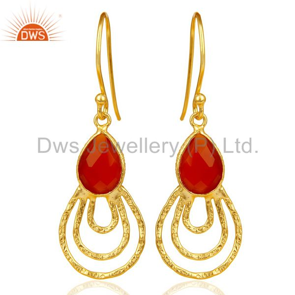 Red Onyx Hammered Drop Dangle 14K Gold Plated 92.5 Sterling Silver Earring
