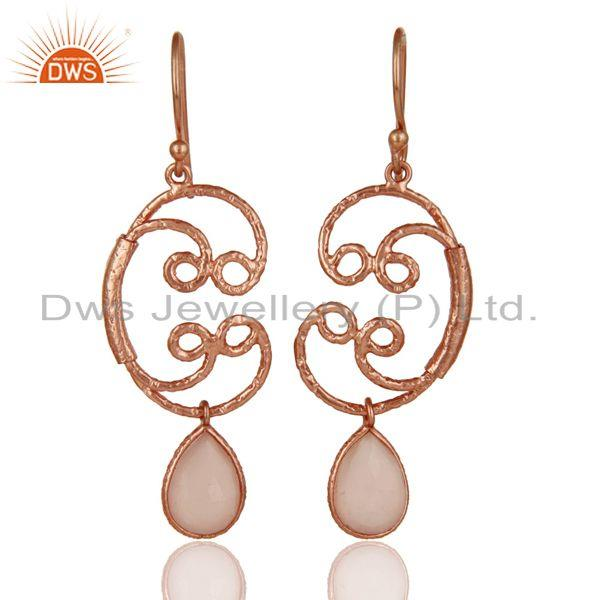 18k Rose Gold Plated 925 Sterling Silver Bezel Set Dyed Chalcedony Drop Earrings
