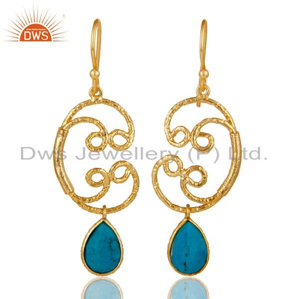 22K Gold Plated 925 Sterling Silver Natural Turquoise Bezel Set Drops Earrings