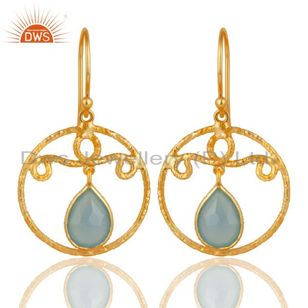 22k Yellow Gold Plated 925 Sterling Silver Chalcedony Bezel Set Drops Earrings