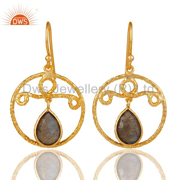 22k Yellow Gold Plated 925 Sterling Silver Bazel Set Labradorite Drops Earrings