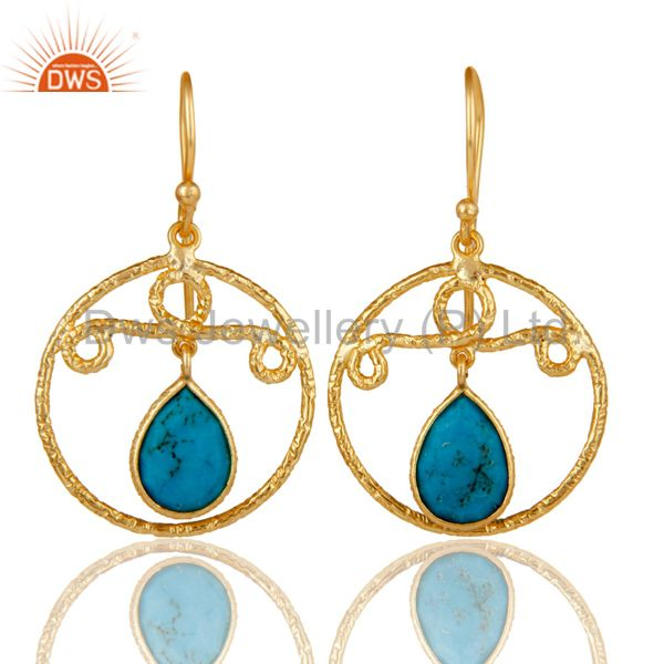 22k Gold Plated 925 Sterling Silver Bezel Set Natural Turquoise Drops Earrings
