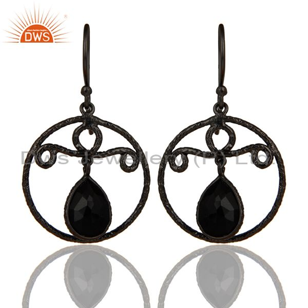 Black Oxidized 925 Sterling Silver Bezel Set Natural Black Onyx Drops Earrings