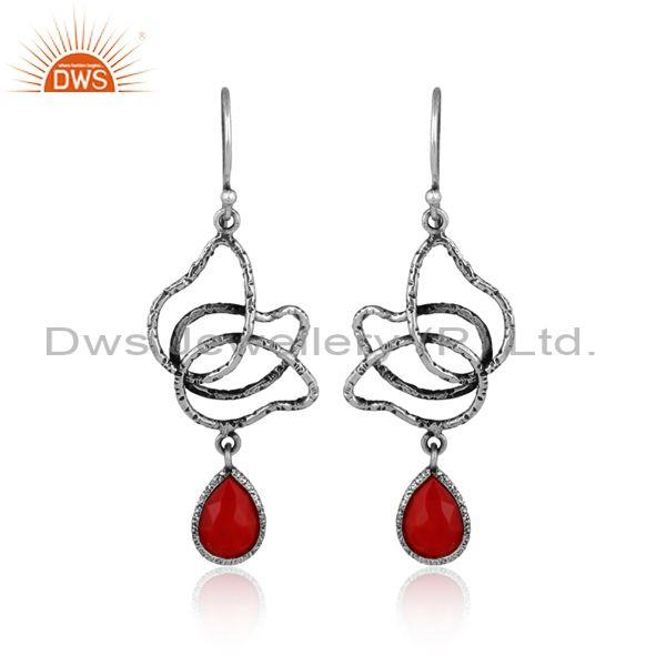 Coral set oxide silver handhammered floral earwire earrings