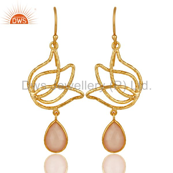 18k Gold Plated 925 Sterling Silver Lotus Design Dyed Chalcedony Drops Earrings