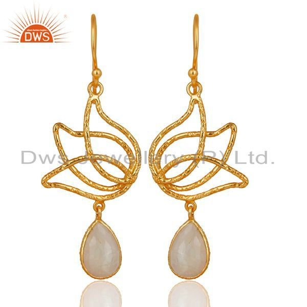 18k Gold Plated Sterling Silver Lotus Design Rainbow Moonstone Dangle Earrings