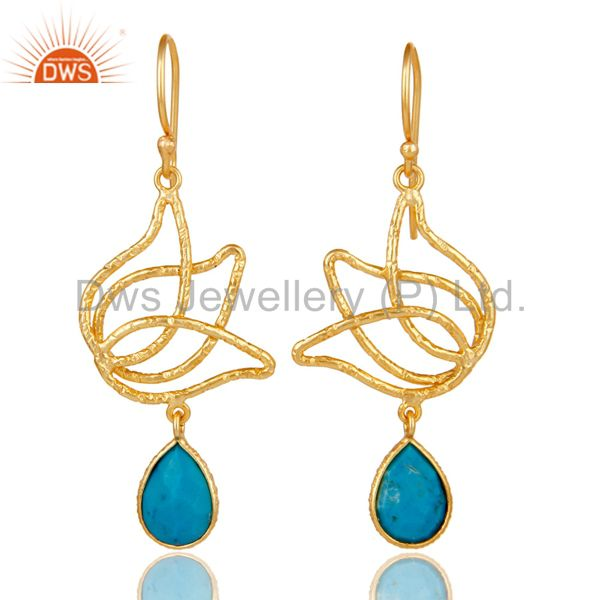 18k Gold Plated 925 Sterling Silver Lotus Design Turquoise Drops Earrings