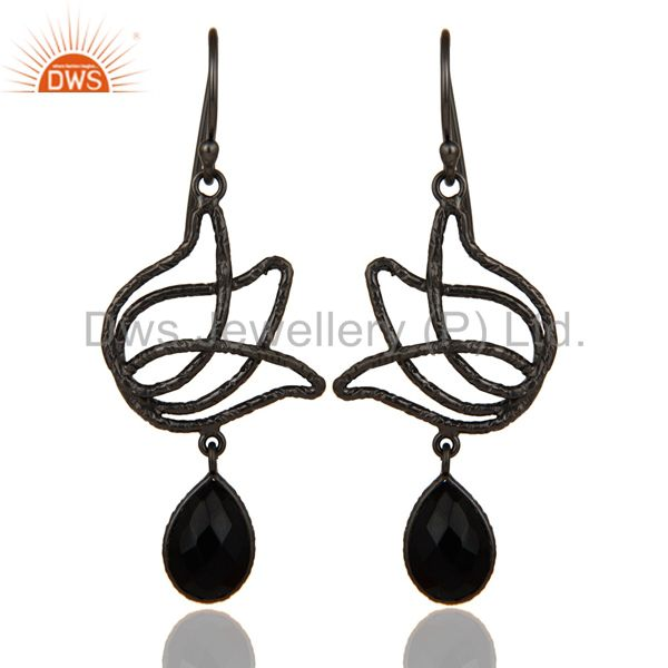 Black Oxidized 925 Sterling Silver Lotus Design Natural Black Onyx Drop Earrings
