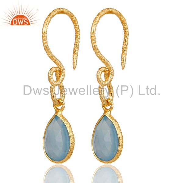 22K Gold Plated Sterling Silver Bezel Set Dyed Blue Chalcedony Dangle Earrings