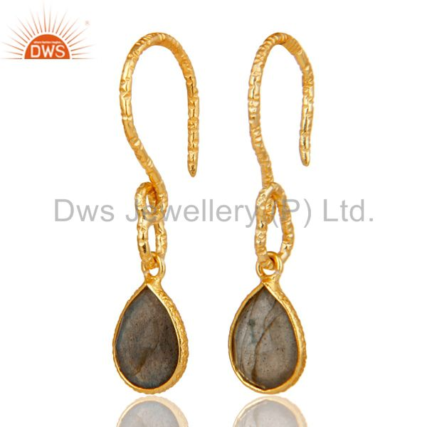 22K Gold Plated Sterling Silver Bezel Set Natural Labradorite Dangle Earrings