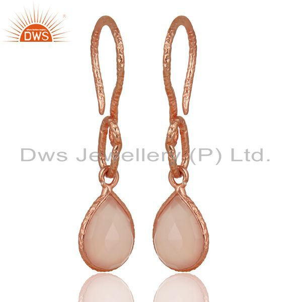 22K Rose Gold Plated Sterling Silver Bezel Set Dyed Chalcedony Dangle Earrings