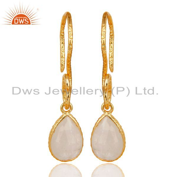 22K Gold Plated Sterling Silver Bezel Set Rainbow Moonstone Dangle Earrings