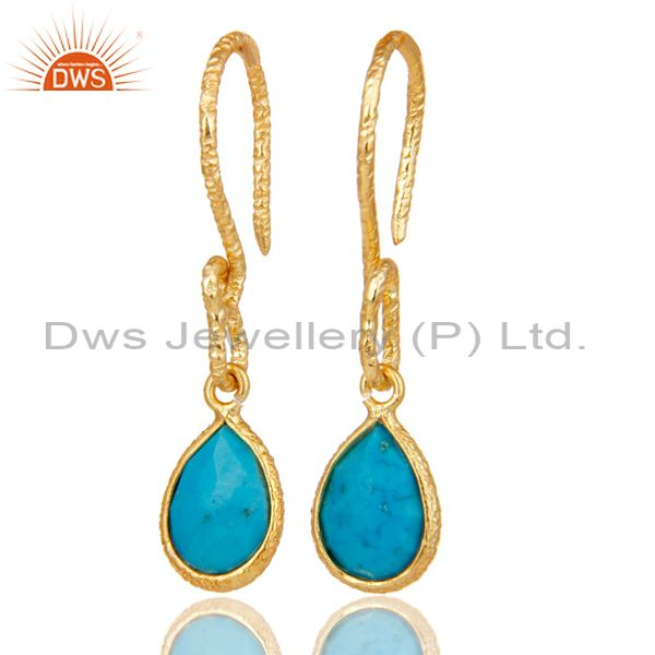 22K Gold Plated 925 Sterling Silver Turquoise Gemstone Bezel Set Drops Earrings