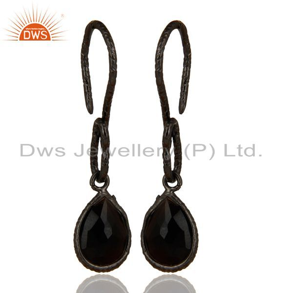 Black Oxidized Sterling Silver Black Onyx Gemstone Bezel Set Drops Earrings