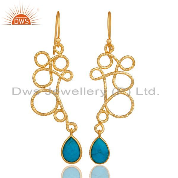 18K Gold Plated 925 Sterling Silver Zig Zag Style Turquoise Drops Earrings