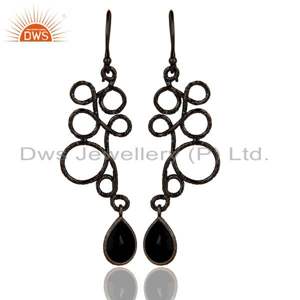 Black Oxidized 925 Sterling Silver Zig Zag Style Black Onyx Drops Earrings